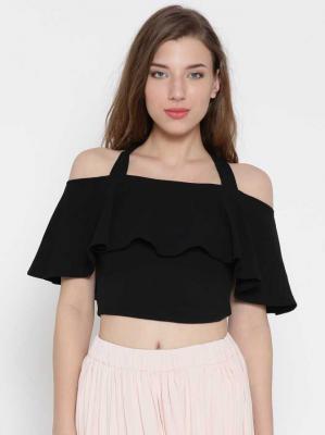 Veni Vidi Vici Casual Half Sleeve Solid Women Black Top