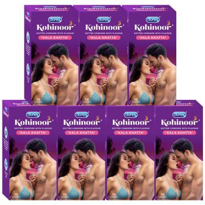 Durex Kohinoor Condoms - 10 Count (Pack of 7, Kala Khatta)
