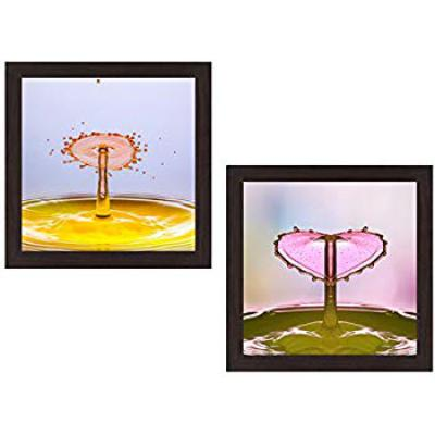 Wens 'Beauty of Heart and Drop' UV Textured Wall Painting (Synthetic Wood, 35 cm x 71 cm x 2.5 cm, Brown, Set of 2)