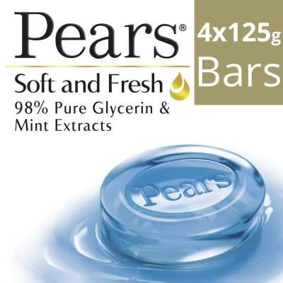 Pears Soft and Fresh Bathing Bar, 125g (Buy 3 Get 1 Free)