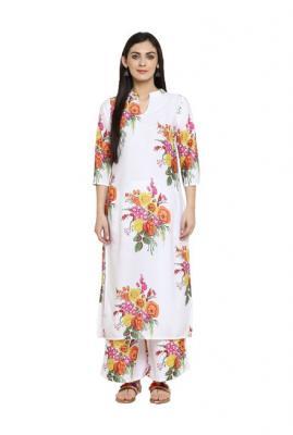 Ziyaa White Floral Print Crepe Kurta