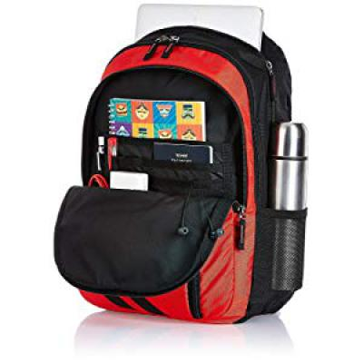 Amazon Brand - Solimo Travel Backpack (29 litres, Spanish Red & Black)