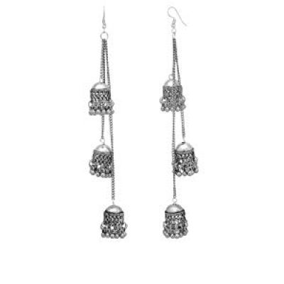 Buy Shreyadzines Designer Afghani Kashmiri Tribal Oxidized Dangle Long Earrings for Women and Girls (Silver)