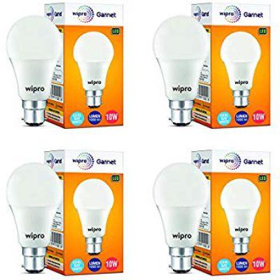Buy Wipro Garnet Base B22 10-Watt LED Bulb (Pack of 4, Cool Day White)