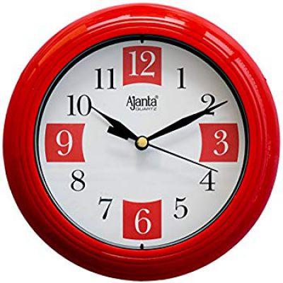 Buy Ajanta Plastic Round Sweep Clock (17.2 cm x 17.2 cm x 3.2 cm, Red) Online at Low Prices in India - Amazon.in