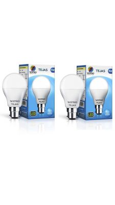 Wipro Tejas 9 Watt B22 LED Bulb,Cool Day Light (Pack of 2) @Effectively Free