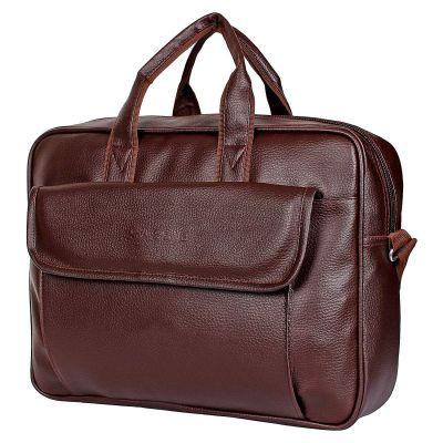 Sassie Leatherette 12 LTR Brown Office Bag, Laptop Briefase, Sling Bag, Messanger Bag Laptop Bag