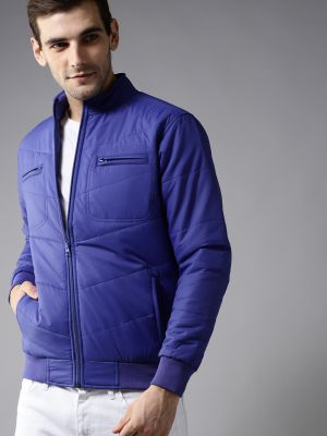 HERE&NOW Men Blue Solid Bomber Jacket