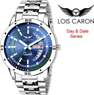 Lois Caron LCS-8075 BLUE DIAL DAY & DATE FUNCTIONING Analog Watch  For Men