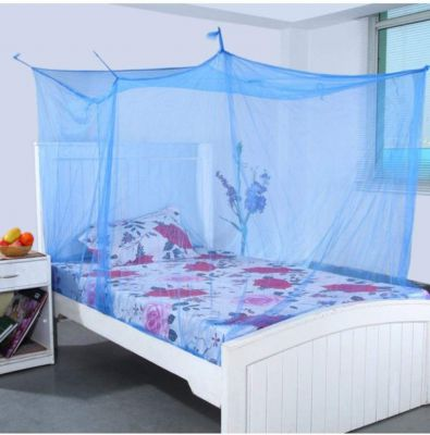 Shahji Creation Single Bed Mosquito Net with Cotton Border, Blue (3x6 Feet):