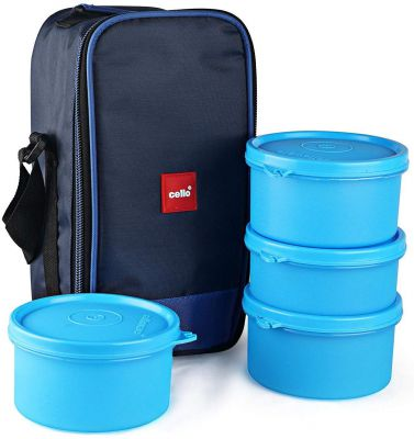 Buy Cello Max Fresh Delight Plastic Lunch Box with Bag, 4-Pieces, Blue