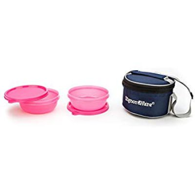 Signoraware Buddy Plastic Lunch Box with Insulated Bag, Set of 2, 300ml,
