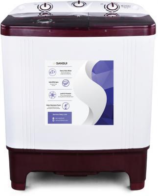 Sansui 6.5 kg Semi Automatic Top Load Washing Machine White, Maroon
