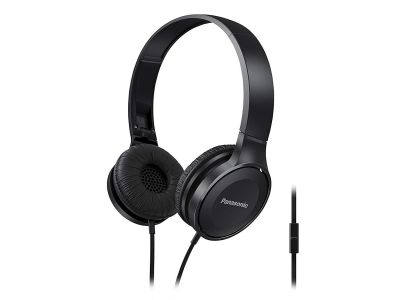 Panasonic On Ear Stereo Headphones RP-HF100ME-K with Integrated Mic and Controller
