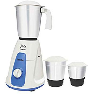 Inalsa Polo 550-Watt Mixer Grinder with 3 Jars (White/Blue)