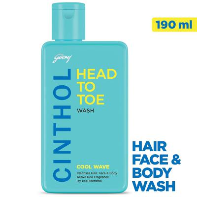 Cinthol Head to Toe, 3-in-1 Wash (Shampoo, Face and Body) – COOL WAVE, 190ml