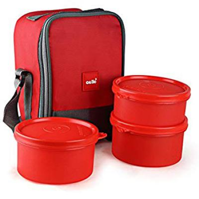 Cello Max Fresh Joy Plastic Lunch Box Set, 3-Pieces, Red