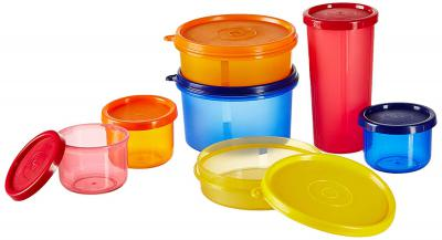 Amazon Brand - Solimo Food Saver Combo - Set of 7 Plastic Lunch Box & Left Over Multi Purpose Containers