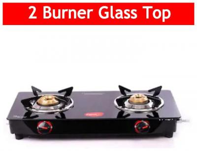 Pigeon ASTER 2 Burners Stainless Steel With Glass Top Gas Stove - Black