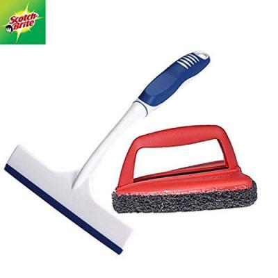Scotch-Brite Fibre Jet Scrubber Brush Tough and Kitchen Squeegee Wiper (Multicolour)