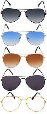 elegante combo of 5 Aviator Sunglasses for Men
