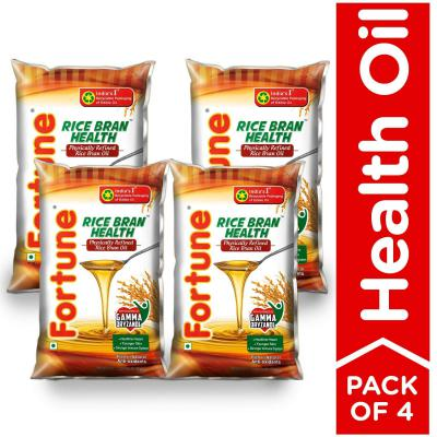 Fortune Rice Bran Health Oil, 1 L (Pack of 4)