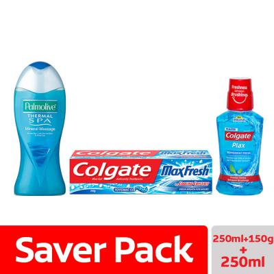 Palmolive Bodywash Feel the Massage Shower Gel + Colgate Blue Max Fresh Toothpaste & Colgate Peppermint Fresh Mouthwash
