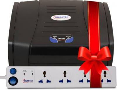 Microtek EMT1390 Voltage Stabilizer (Black) & 6A 4 Socket with 1 switch Surge Protector (White)