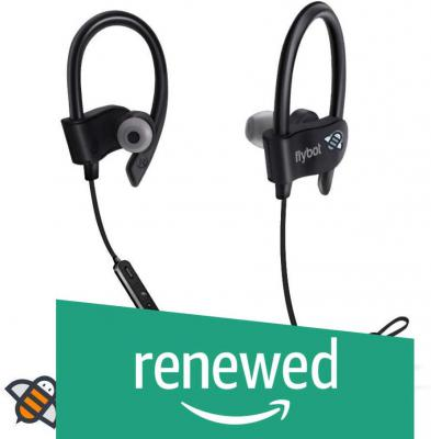 (Renewed) Flybot Wave in-Ear Sport Wireless Bluetooth Earphone with Mic and IPX4 Sweatproof - (Black)