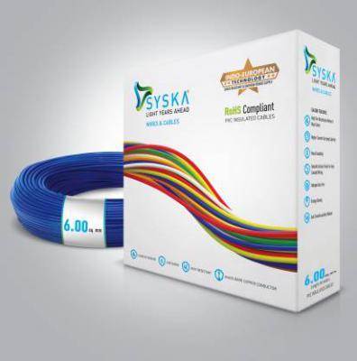 Syska FR PVC 6 sq/mm Blue 90 m Wire (Blue)