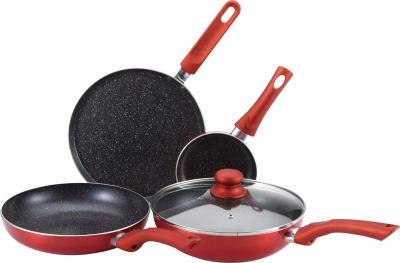 Bergner Esprit - 5 Piece Aluminium Cookware Set in Red Colour by HomeTown