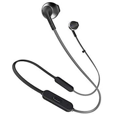 JBL T205BT Pure Bass Wireless Metal Earbud Headphones with Mic (Black)