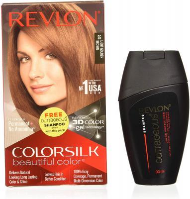 Revlon Colorsilk Hair Color Light Golden Brown 5G 200g with Free Outrageous shampoo 90 ml