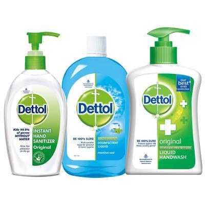 Dettol Sanitizer Original - 200 ml with Hand Wash Original - 200 ml and Multi Hygiene Cool - 200 ml