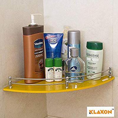 Klaxon Corner Glass Shelf - 9 * 9 Inches - Yellow