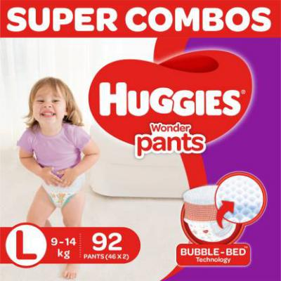 Huggies Wonder Pants Large Size Diapers Combo 2, 46 Counts Per Pack - L  (92 Pieces)