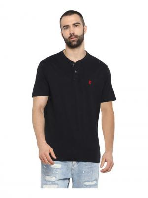 Red Tape Black Henley Cotton T-Shirt