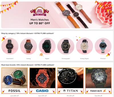 Up to 80% off on Mens Watches + cashback offers from top brands