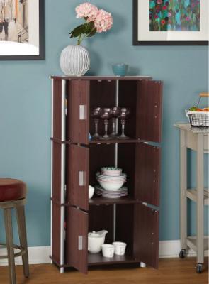 HomeTown Jacob Engineered Wood Free Standing Cabinet  (Finish Color - Walnut & Cherry Brown, Door Type- Hinged)