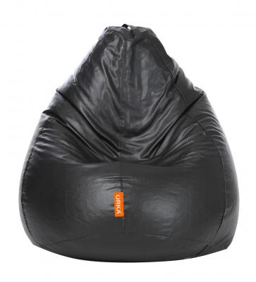 Classic XL Bean Bag with Beans in Black Colour by Orka