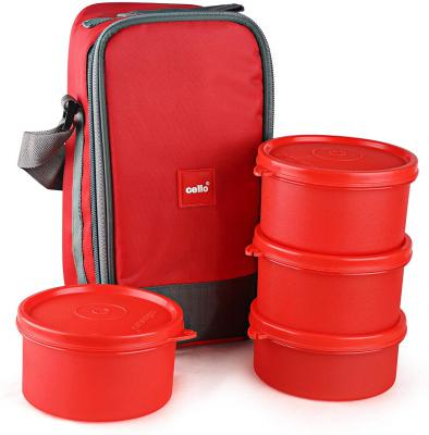 Cello Max Fresh Joy Plastic Lunch Box Set, 4-Pieces, Red