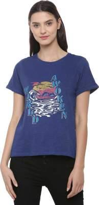 Printed Women Round Neck Blue T-Shirt