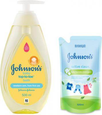 Johnson's Baby Top To Toe Bath 500ml with Baby Laundry Detergent Active Clean 500ml  (Transperant)