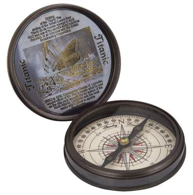 Tu Casa Vinatge Compass in Working Condition Brass (6.35 cm x 6.35 cm x 1.9 cm, Bronze)