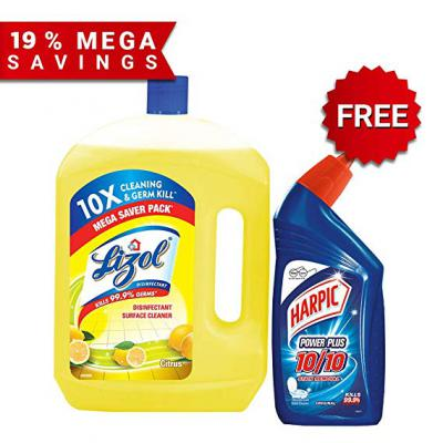 FREE Harpic Toilet Cleaner, Original - 500 ml with Lizol Floor Cleaner, Citrus - 2 ltr.