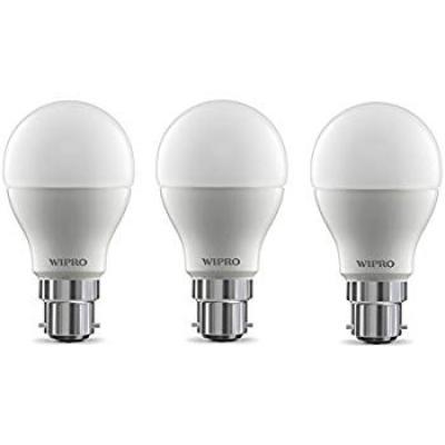Wipro Garnet Base B22 9-Watt LED Bulb (Pack of 3, Cool Day Light)