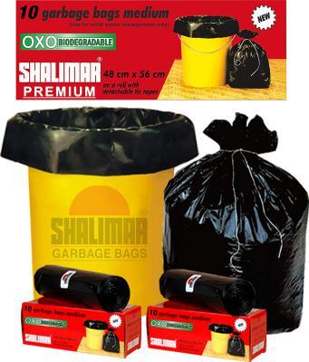 Shalimar Premium OXO - Biodegradable Garbage Bags (Medium) Size 48 cm x 56 cm (10 Bags) (Black Colour)