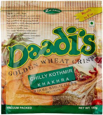 Daadi's Golden Wheat Crisps Chilly Kothmir Khakhra (Pack of 3)