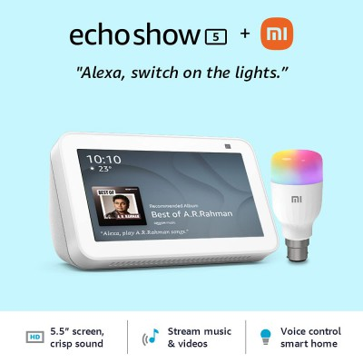 Echo Show 5 (Black) bundle with Mi LED bulb