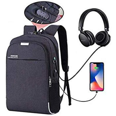 Hoteon Mobilife Water Resistant Anti-Theft Black Business Laptop Backpack with USB Charging Port and Lock